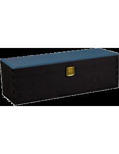 Cassette in Legno - Cassetta Regalo in Legno Antracite e Blu Porta Vino per 1 Bottiglia da 750 ml. - Vino45 - 1