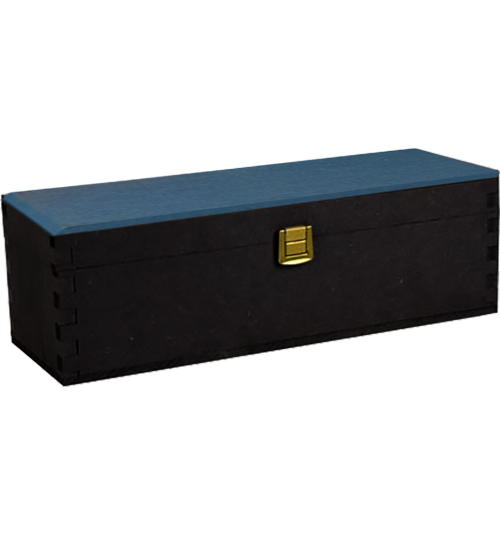 Wooden Boxes - Wood Anthracite and Blue Wine Box Gift Box for 1 Bottle of 750 ml. - Vino45 - 1