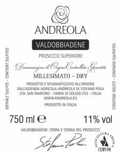 Vini Spumanti - Valdobbiadene Prosecco Superiore DOCG Millesimato Dry - Andreola - Andreola - 2