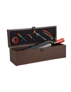 Cassetta per 1 Bottiglia 5 Accessori per Degustazione in legno con cerniere