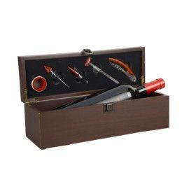 Wood Box for 1 Bottle 5 Accessories for Wine Tasting with hinges