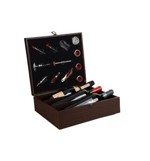 Wood Box for 3 Bottles 12 Accessories for Wine Tasting with hinges