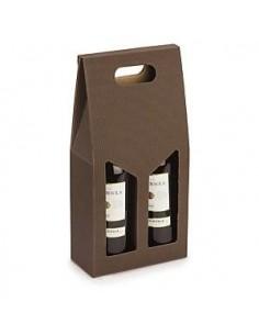 Scatole Regalo - Scatola Regalo Porta Vino Marrone con Manico per 2 Bottiglie - Vino45 - 1