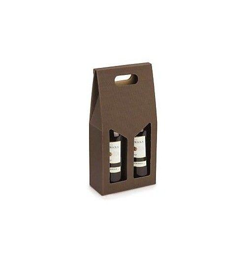 Gift Boxes - Brown Wine Holder Gift Box with Handle for 2 Bottles - Vino45 - 1